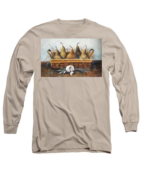 Long Sleeve T-Shirt featuring the painting Pears by Mikhail Zarovny