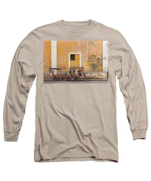 Long Sleeve T-Shirt featuring the photograph Pedicabs At Convento De Santa Clara Havana Cuba by Charles Harden