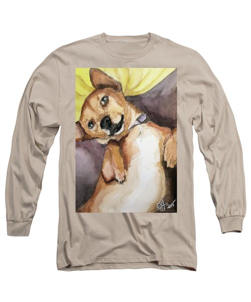 Long Sleeve T-Shirt featuring the painting Pedro The Chi-weenie by Rachel Hames