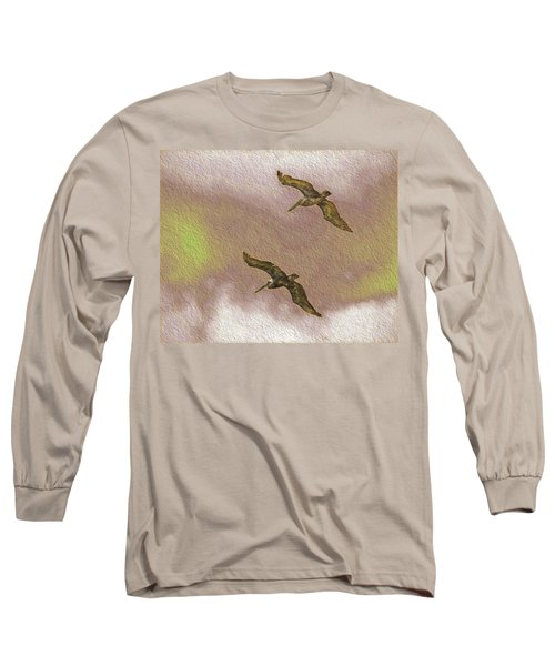 Pelicans On Cave Wall Long Sleeve T-Shirt