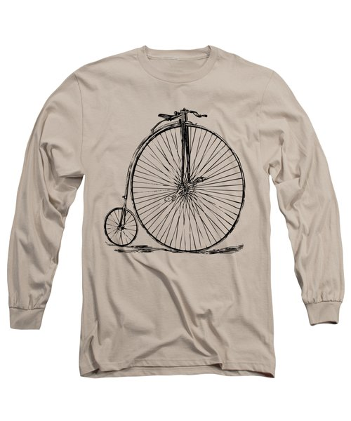 Penny-farthing 1867 High Wheeler Bicycle Vintage Long Sleeve T-Shirt by Nikki Marie Smith