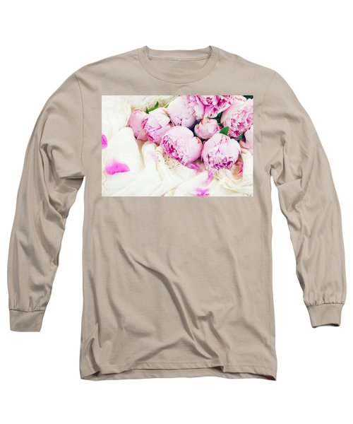 Peonies And Wedding Dress Long Sleeve T-Shirt