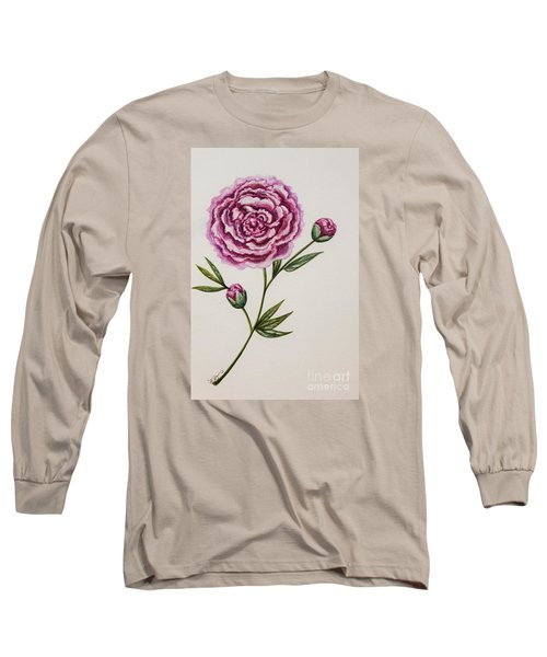 Peony Botanical Long Sleeve T-Shirt by Elizabeth Robinette Tyndall