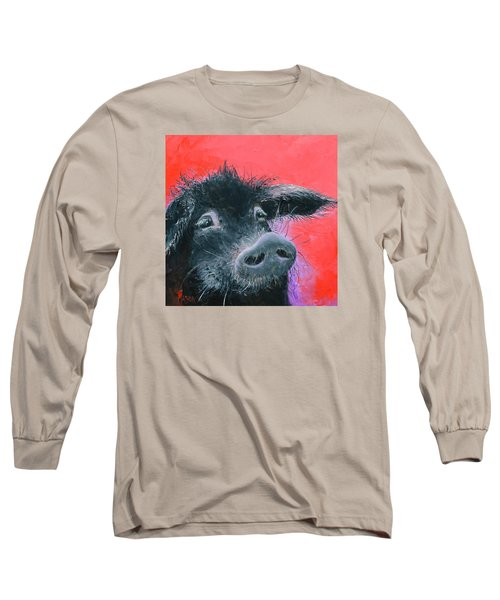 Percival The Black Pig Long Sleeve T-Shirt by Jan Matson