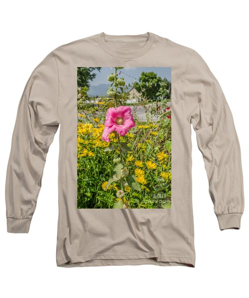 Long Sleeve T-Shirt featuring the photograph Perfect Pink Hollyhocks by Sue Smith