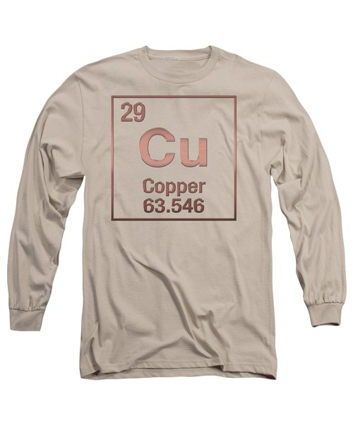 Periodic Table Of Elements - Copper - Cu - Copper On Copper Long Sleeve T-Shirt