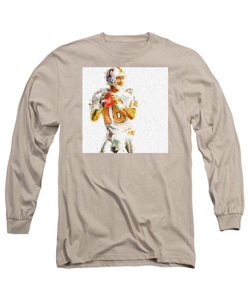 Peyton Manning Nfl Football Painting Tv Long Sleeve T-Shirt by David Haskett