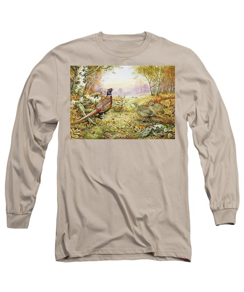 Pheasants In Woodland Long Sleeve T-Shirt by Carl Donner