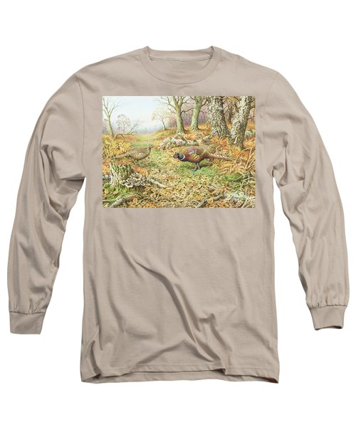 Pheasants With Blue Tits Long Sleeve T-Shirt by Carl Donner