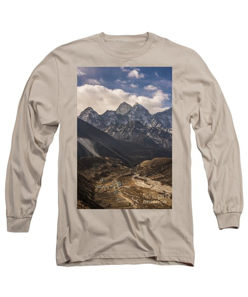 Long Sleeve T-Shirt featuring the photograph Pheriche In The Valley by Mike Reid
