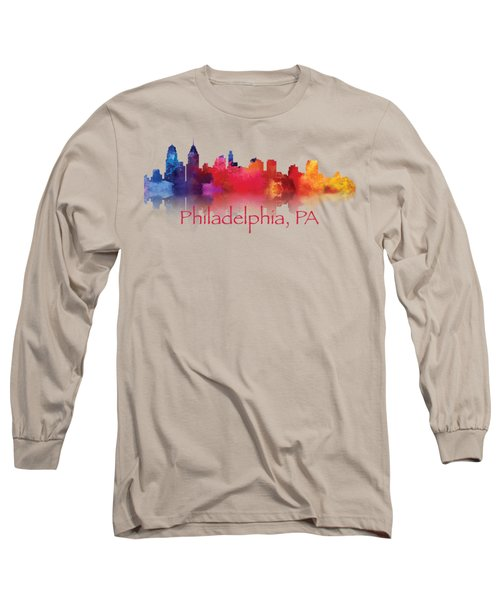 philadelphia PA Skyline TShirts and Apparal Long Sleeve T-Shirt by Loretta Luglio
