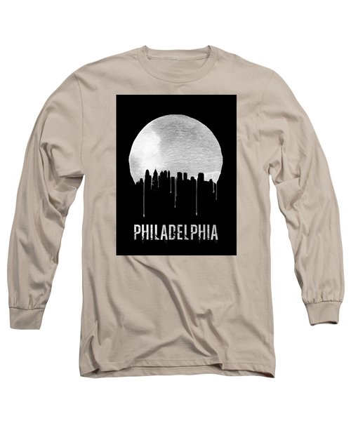 Philadelphia Skyline Black Long Sleeve T-Shirt by Naxart Studio