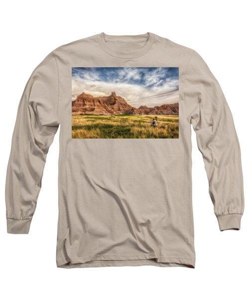 Photographer Waiting For The Badlands Light Long Sleeve T-Shirt by Rikk Flohr