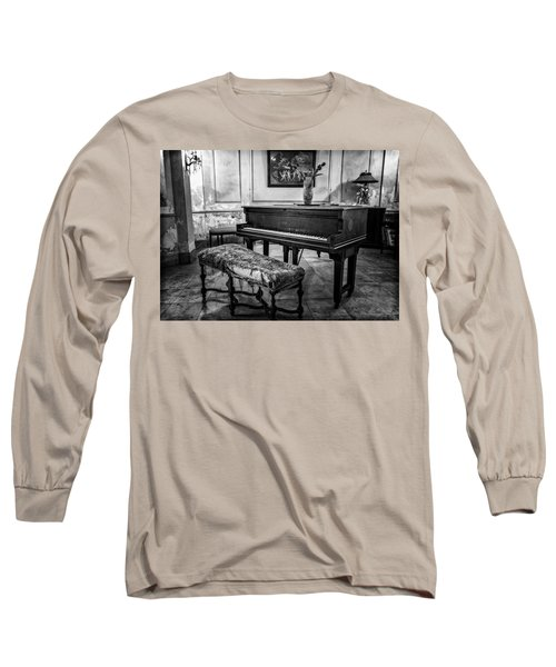 Long Sleeve T-Shirt featuring the photograph Piano At Josie's House Bw by Joan Carroll
