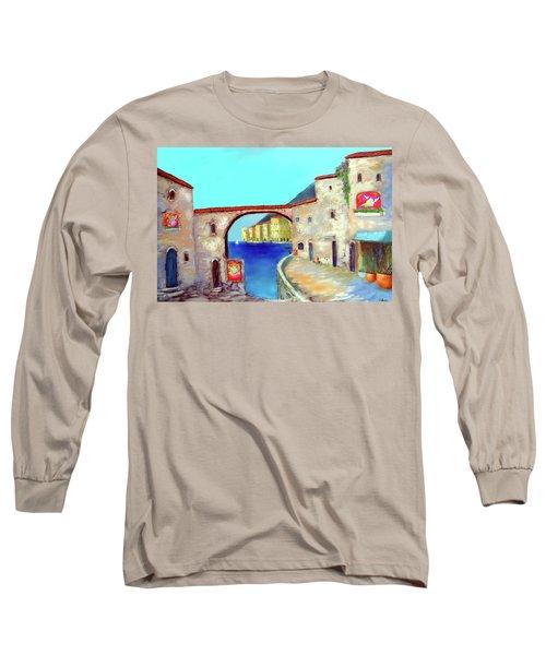 Piazza Del La Artista Long Sleeve T-Shirt by Larry Cirigliano