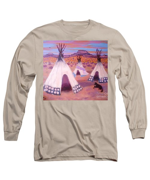 Long Sleeve T-Shirt featuring the painting Piegan Indian Tipis by Suzanne McKay