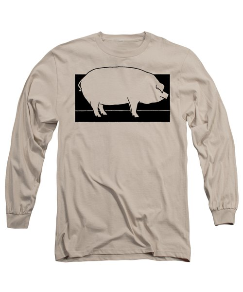 Long Sleeve T-Shirt featuring the drawing Pig - T Shirt Pig by rd Erickson