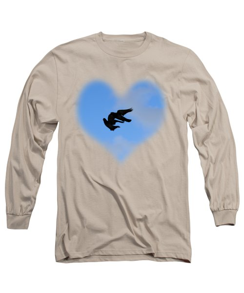 Pigeons Shadow T-shirt Long Sleeve T-Shirt by Isam Awad