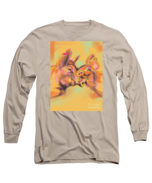 Long Sleeve T-Shirt featuring the painting Piggy Love by Go Van Kampen