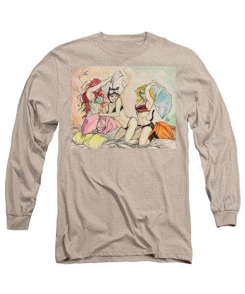 Pillow Fight Long Sleeve T-Shirt by Jimmy Adams