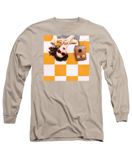 Long Sleeve T-Shirt featuring the photograph Pin-up Beauty Decision Making On Old Phone by Jorgo Photography - Wall Art Gallery
