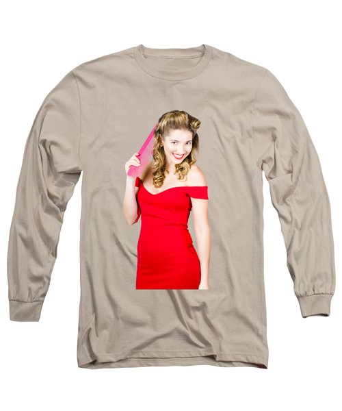 Pin-up Styled Fashion Model With Classic Hairstyle Long Sleeve T-Shirt