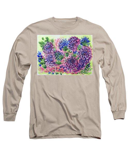 Pink And Blue Flower Flurry Long Sleeve T-Shirt