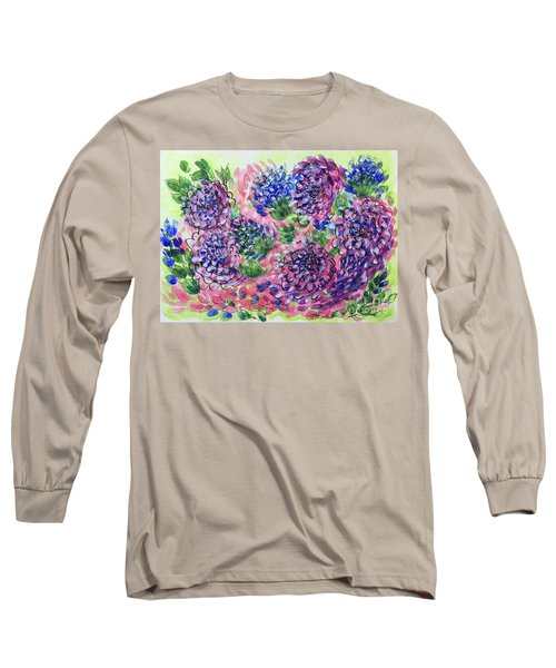 Pink And Blue Flower Flurry Long Sleeve T-Shirt