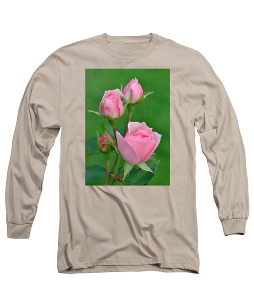 Pink And The Buds Long Sleeve T-Shirt by Janet Rockburn