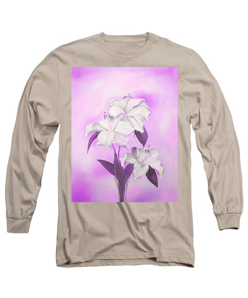 Long Sleeve T-Shirt featuring the mixed media Pink And White by Elizabeth Lock