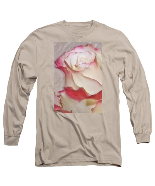 Pink And White Rose Long Sleeve T-Shirt by Sandra Foster