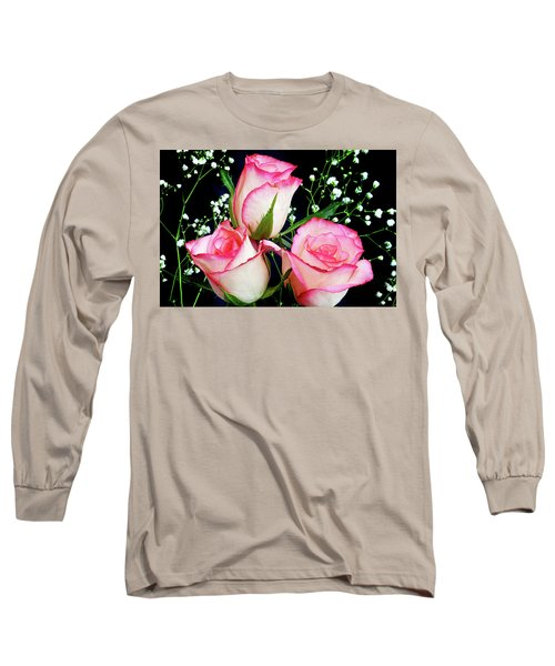 Pink And White Roses Long Sleeve T-Shirt