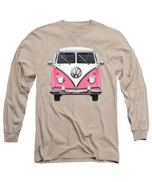 Pink And White Volkswagen T 1 Samba Bus On Yellow Long Sleeve T-Shirt