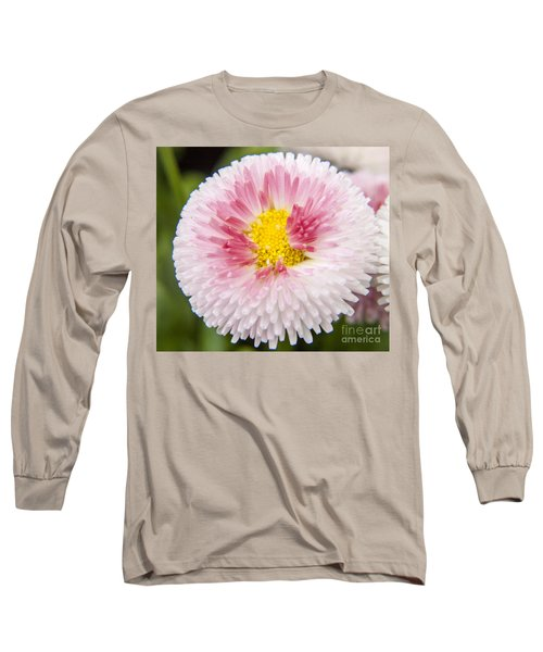 Pink Button Flower Long Sleeve T-Shirt