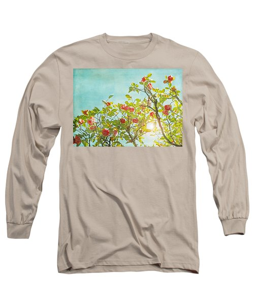 Pink Camellia Japonica Blossoms And Sun In Blue Sky Long Sleeve T-Shirt by Brooke T Ryan