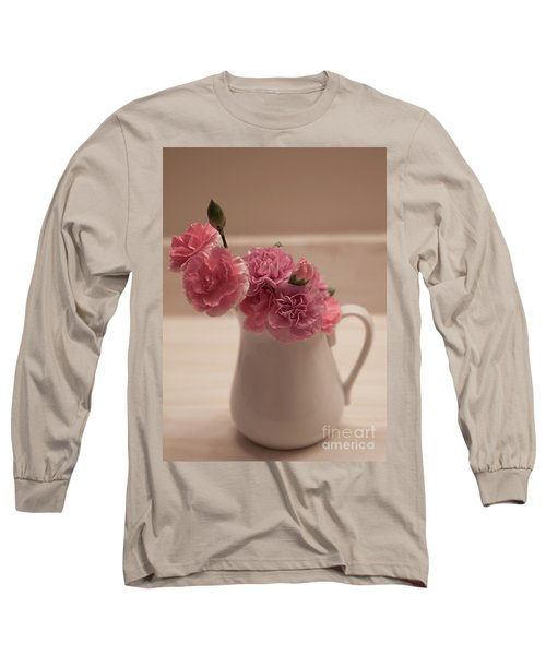 Pink Carnations Long Sleeve T-Shirt by Sherry Hallemeier