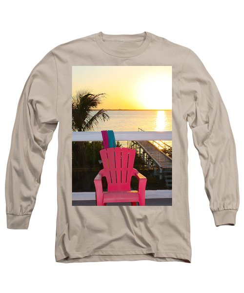 Pink Chair In The Keys Long Sleeve T-Shirt