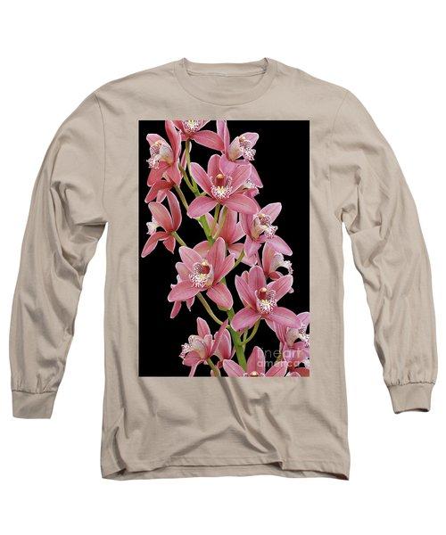 Pink Cymbidium Orchid Long Sleeve T-Shirt