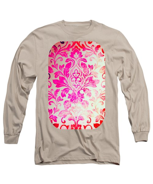 Pink Damask Pattern Long Sleeve T-Shirt