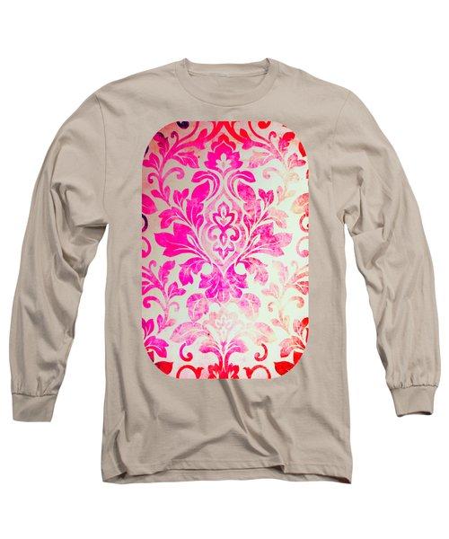 Pink Damask Pattern Long Sleeve T-Shirt