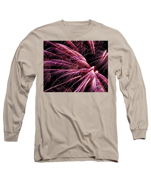 Long Sleeve T-Shirt featuring the photograph Pink Flamingo Fireworks #0710 by Barbara Tristan