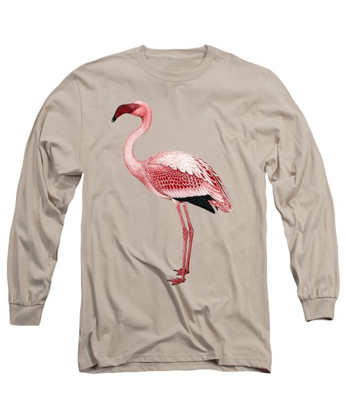 Pink Flamingo Isolated Long Sleeve T-Shirt by Tracey Harrington-Simpson