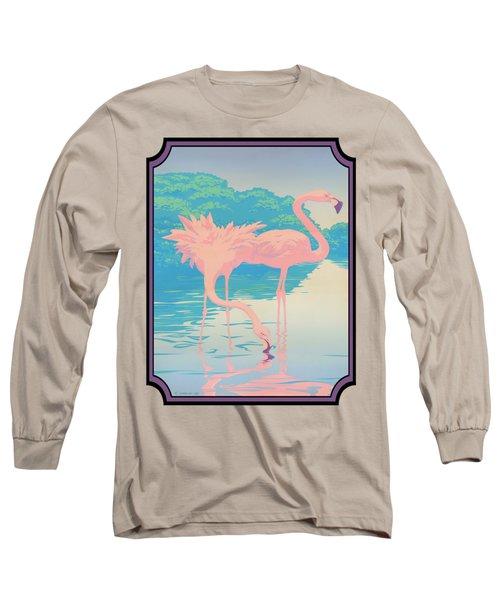 Pink Flamingos Abstract Retro Pop Art Nouveau Tropical Bird Art 80s 1980s Florida Decor Long Sleeve T-Shirt by Walt Curlee