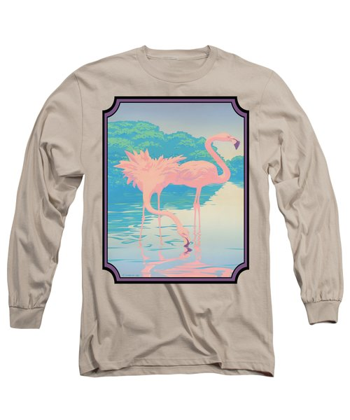 Pink Flamingos Abstract Retro Pop Art Nouveau Tropical Bird Art 80s 1980s Florida Decor Long Sleeve T-Shirt