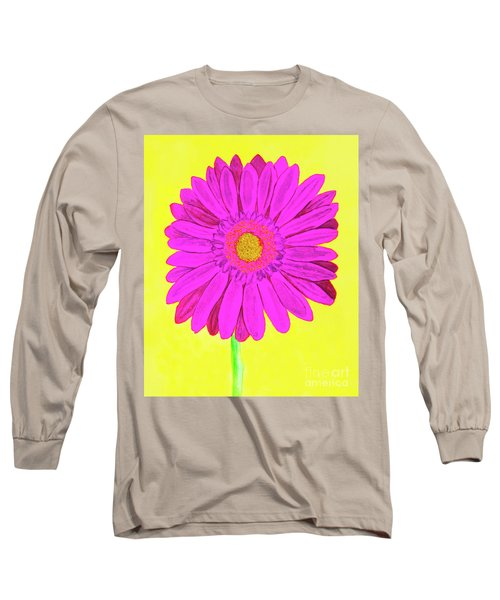 Pink Gerbera On Yellow, Watercolor Long Sleeve T-Shirt