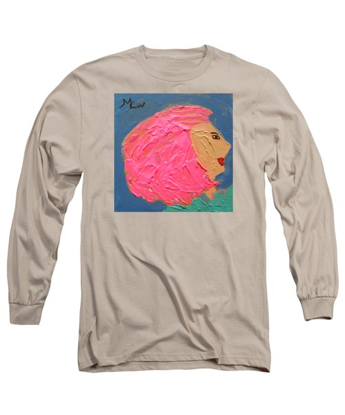 Long Sleeve T-Shirt featuring the painting Pink  Hair by Mary Carol Williams