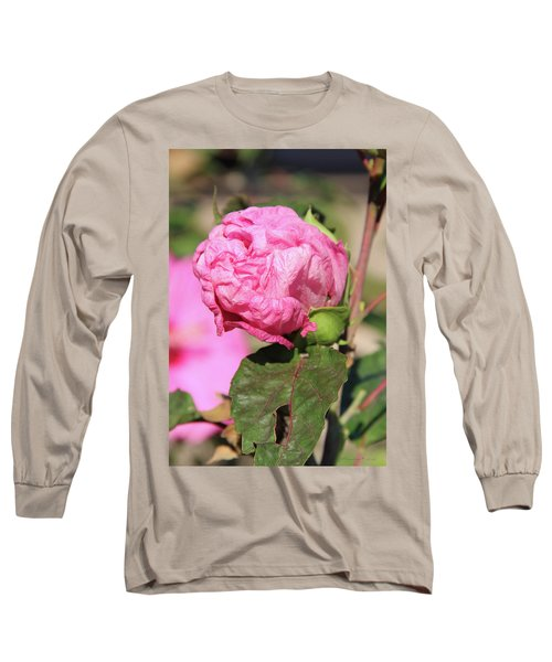 Pink Hibiscus Bud Long Sleeve T-Shirt by Inspirational Photo Creations Audrey Woods