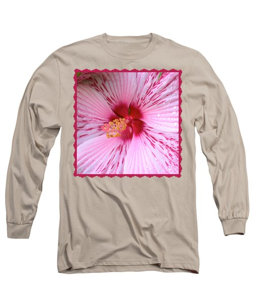 Pink Hibiscus Macro Long Sleeve T-Shirt