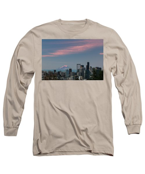 Long Sleeve T-Shirt featuring the photograph Pink Highlights Over Seattle-mt. Rainier by E Faithe Lester