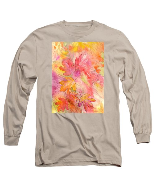 Pink Leaves Long Sleeve T-Shirt by Nancy Cupp